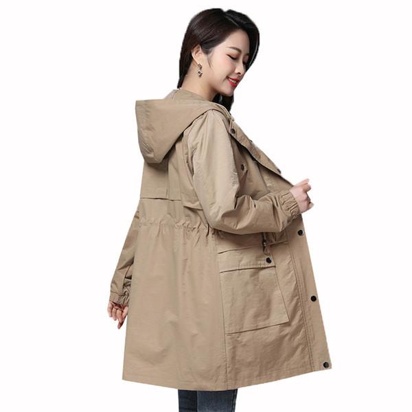 Novas Mulheres Casacos Windbreaker 2019 Primavera Outono Cor Sólida Lazer tamanho Grande Jaqueta Feminina Coreano Moda Com Capuz Outerwear Fino
