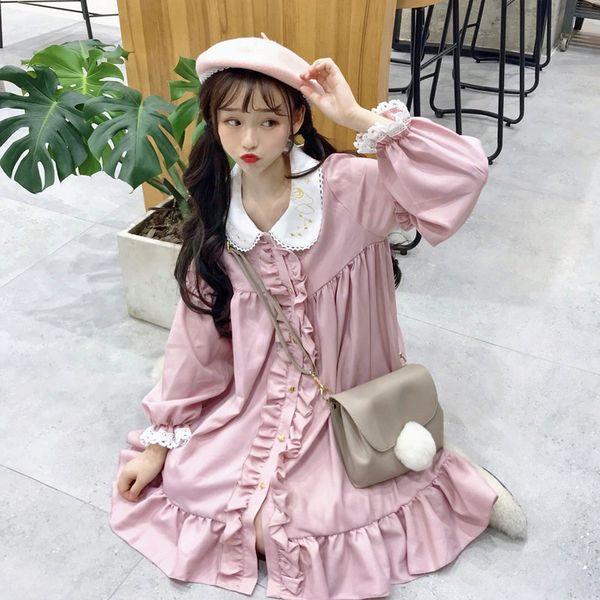 Lace Fungus Lace Stickerei Puppe Kleid Damenkleider japanische Harajuku Ulzzang weibliche koreanische Kawaii niedliche Kleidung für Frauen