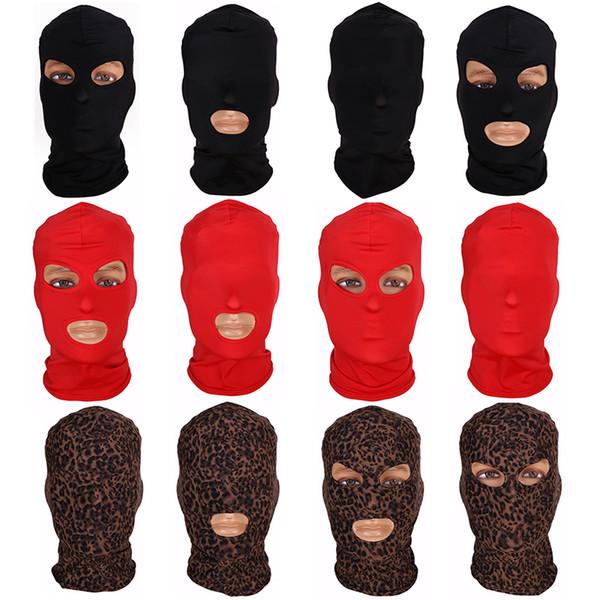 2019 Nueva máscara facial completa Máscara de tres orificios de pasamontañas 3 Gorro de punto Estiramiento de invierno Máscara para la nieve Gorro con gorro Nueva Negro Máscaras faciales calientes