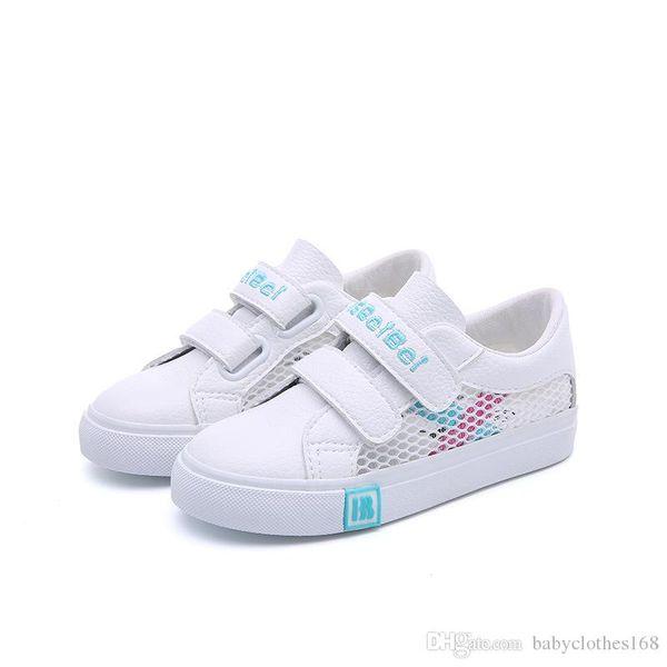 Çocuk Erkek Kız Tuval Sneakers Ayarlanabilir Askı Küçük Çocuk Hafif Koşucu Tenis Ayakkabı Üzerinde Kayma beyaz