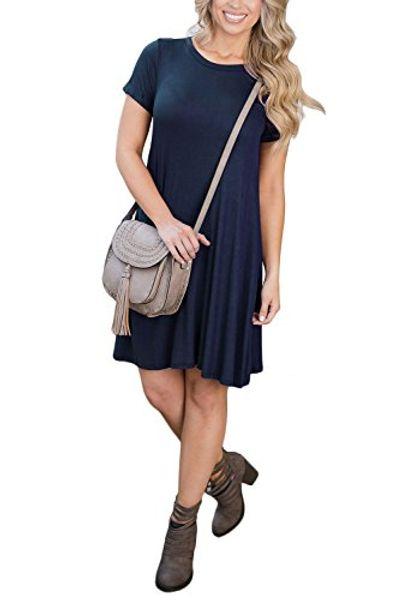 WIWIQS Women's Casual Plain Flowy Simple Loose Cotton T-Shirt Dress