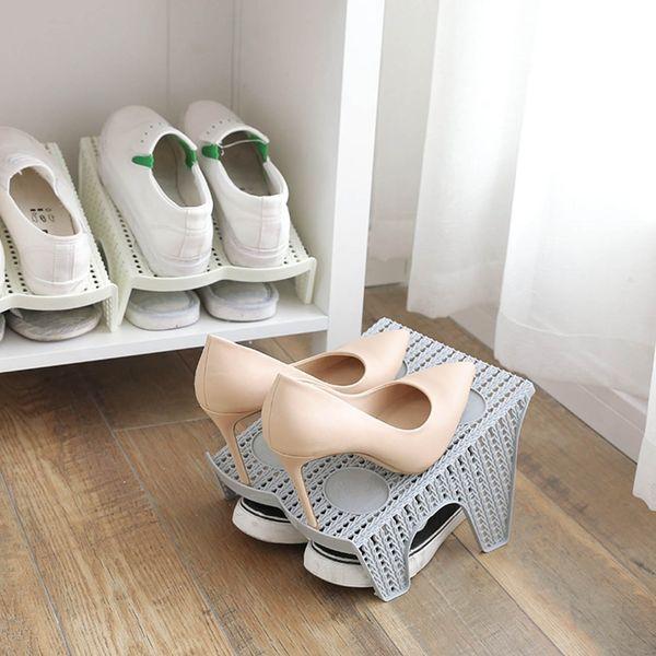 ANDERE HAUS 1 Stück Rattan Doppelschicht Schuhregal Ständer Halter Schuh Veranstalter Schuhe Lagerung Regal Racks Schrank Veranstalter