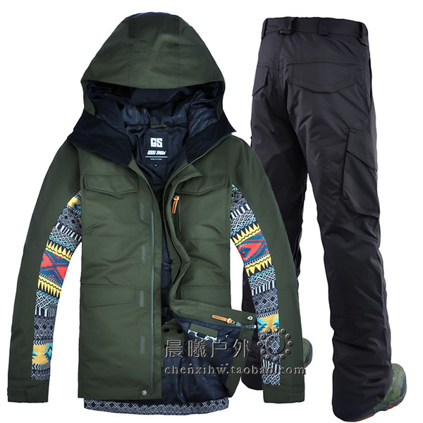 2019 Brand New Mens Ski Pants and Jackets Army Green Snowboard Suits Men Snowboarding Coat and Trousers Men Winter Snow Clothes