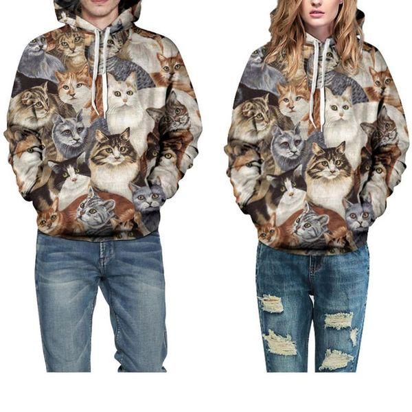 Modelli di esplosione 3D Cat Star stampa digitale maglione con cappuccio commercio estero marea amanti del marchio paio di baseball con cappuccio incappucciato