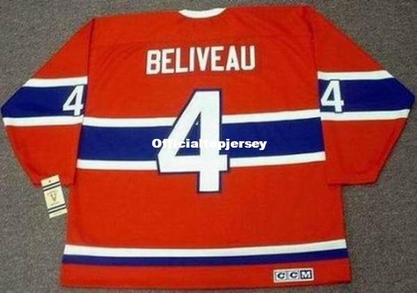 custom Mens JEAN BELIVEAU Montreal Canadiens 1968 CCM Vintage Cheap Retro Hockey Jersey