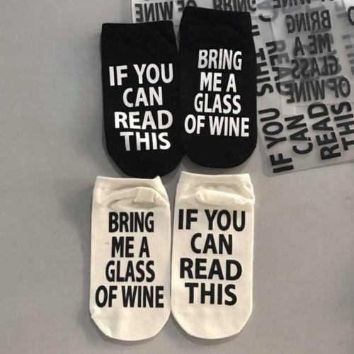 Hot 2019 neue Art und Weise Unisex-Socken-Slippers Wörter gedruckt, wenn Sie dieses lesen können Bringen Sie mir ein Glas Wein-Frauen-Männer-Weihnachtsgeschenk Socken