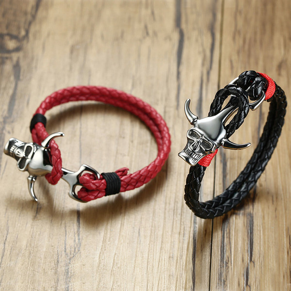 Black Double Layer Braided Leather Bracelet Men Stainless Steel Silver Skull Bangles Pulseira Masculina Biker Charm Jewelry BL-444