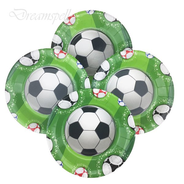 6pcs/lot 7inch new lovely football Party Supplies Disposable Paper Plates Kids Birthday Party Decorations Baby Shower Supplies