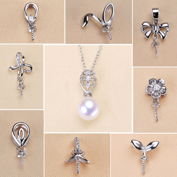 En gros 925 Sterling Silver Pendentif Paramètres Zircon Solide Collier De Perle Paramètres 18 Styles De Mode Collier pour Femmes Blank DIY Bijoux G