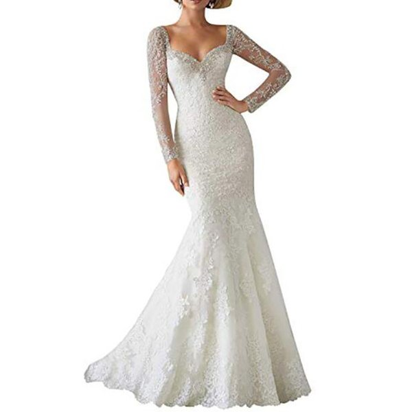 Womens Lace Mermaid Wedding Dresses 2019 Wedding Dresses Appliques Beaded Long Sleeves Puffy Wedding Gown Illusion Back Bridal Gowns