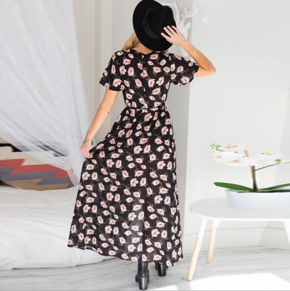 Modedesigner Kleider Für Frauen Urlaub Kleider Sommer Kurzarm Unregelmäßige Split Langen Rock Chiffon Kleid S-XL Verfügbar
