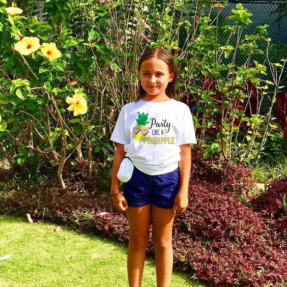 Niños Niñas Niños Verano O-cuello Impresión de piña Camiseta de manga corta Tops Beach Kid Baby Camisetas lindas Moda Casual Cloth