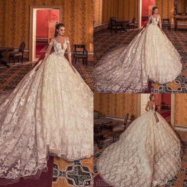 Vintage Princess Ball Gown Wedding Dresses Long 2019 Lace Appliques Long Sleeve Court Train Plus Size Bridal Gowns Royal robe de mariée