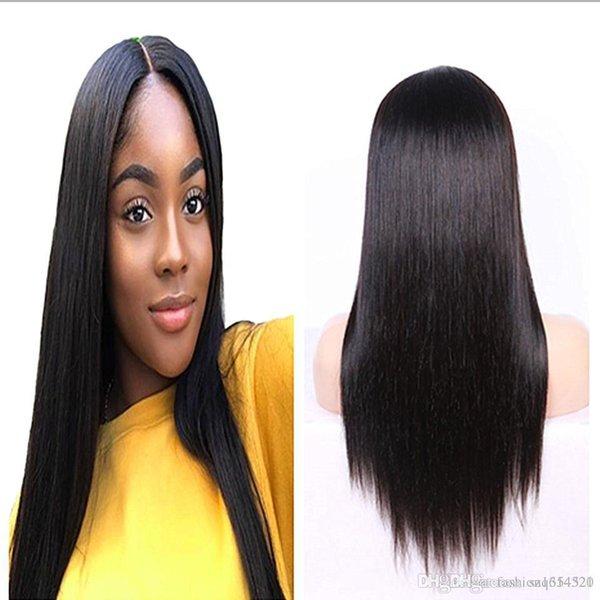 24inch 360 кружева фронтальные парики предварительно сорвал с ребенка волосы прямые перуанские Реми человеческих волос кружева передние парики для чернокожих женщин
