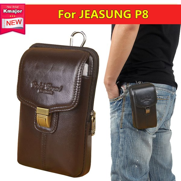 Men Genuine Leather Belt Loop Phone Pouch Holster Retro Cell Case Waist Bag for JEASUNG P8 5.0inche Free Shipping