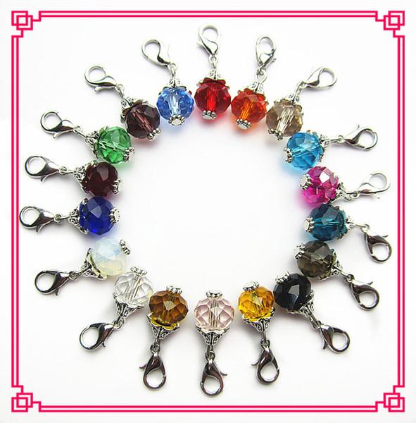 Heißer verkaufender Kristall der Mischung 36pcs / lot baumelt Charme-Karabinerverschlusscharme mit 18 Farben für sich hin- und herbewegende Medaillons der Glasmutter