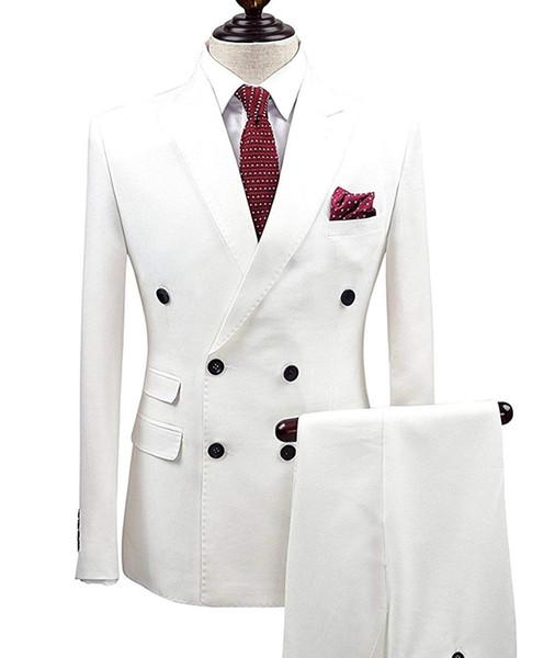 2 Pezzi wgite Doppio Petto Solid 2-Piece Suit Slim Fit Notch risvolto One Button Tuxedo Jacket pantaloni di abiti uomo sposo (Blazer + Pant)