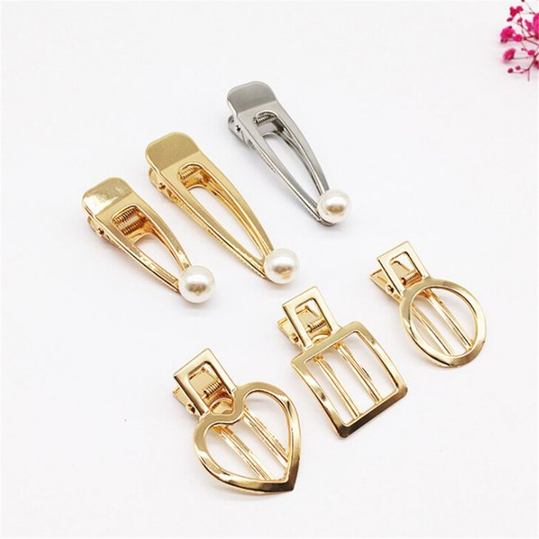 1Pc Vintage Pearl Hair Clips Glossy Matte Hollow Metal Hairpin Hair Accessories For Women Girls Stying Decoration Tools