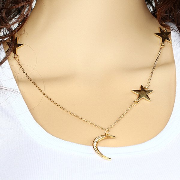 Minimalist Crescent Moon Lariat Necklace Chain Star Y Necklaces Jewelry for Women and Girls