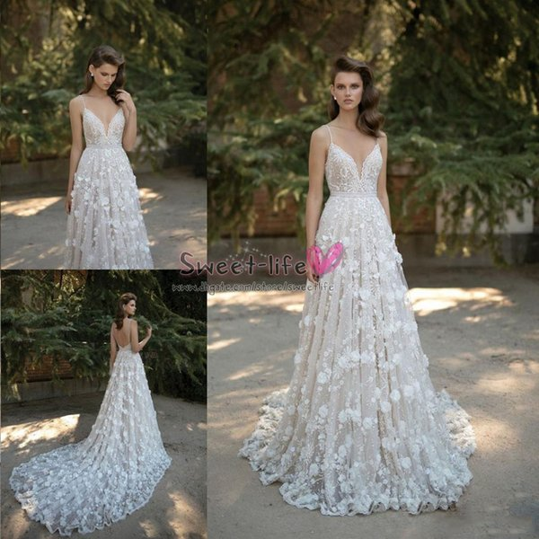 Berta 2019 Wedding Dresses Spaghetti Neck Beads Bridal 3D Floral Appliques Lace Backless Bridal Gowns Crystal Sweep Train Bride Party Dress
