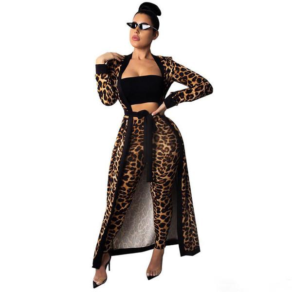 Leopard women two piece pants print long cape poncho Cloak tight tracksuit sweatshirt coat outerwear leggings women fall clothes
