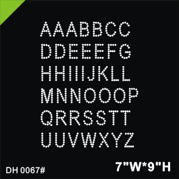 Free shipping Alphabet Iron On Rhinestone Crystal Transfer iron stone hot fix rhinestone motif transfer on design rhinestones fixDIY DH0067#