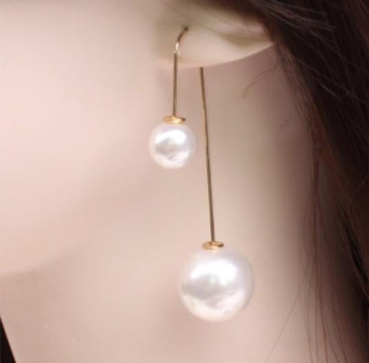 2019 nuevos aretes largos de perlas de doble cara europeos y americanos en forma de U gancho para la oreja