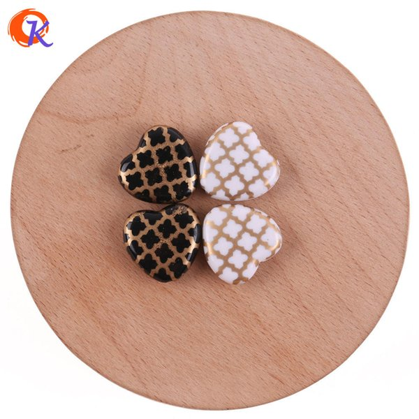 wholesale 19*19mm 100Pcs Acrylic Beads/Jewelry Accessories/Heart Shape/Gold Grids Print Bead/Hand Made/Earring Findings