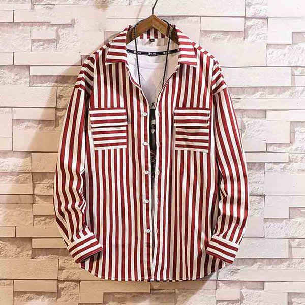 Japan Style Red Striped Shirt Men Streetwear Men Shirts Casual Slim Fit Korean Men Shirt Long Sleeve XXXL Clothing 2019