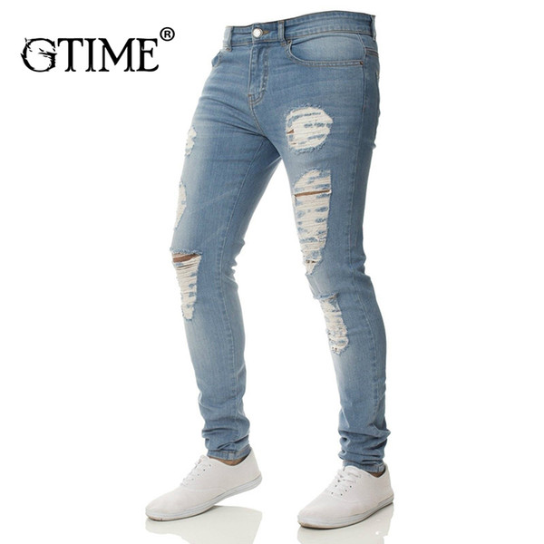 Gtime Dropshipping Cotton Jean Men's Pants Vintage Hole Cool Trousers For Guys Summer Ripped Jeans Bottoms Plus Size 3XL ZS23