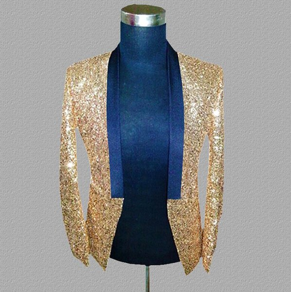 gold sequins blazer men suits designs jacket mens stage costumes for singers clothes dance star style dress punk rock masculino