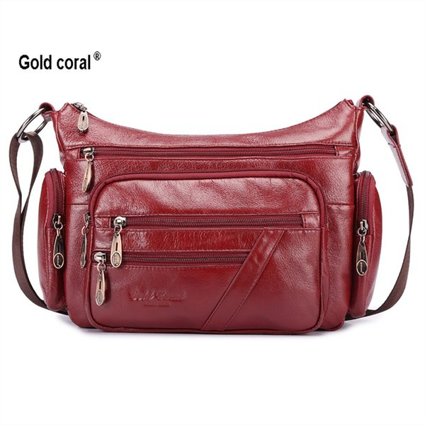 Ouro Coral Genuíno Couro Crossbody sacos para as mulheres Sacos de Ombro Moda Feminina Bolsas Senhoras Mensageiro Grande Tote Bolsa # 173224