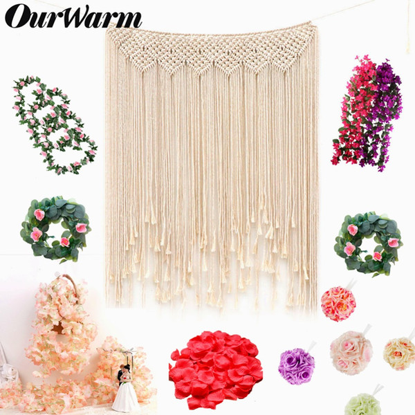 OurWarm Wedding Artificial Flower Silk Rose DIY Hanging Fake Flower Bouquet Plant Garland Backdrop Party Home Garden Decoration