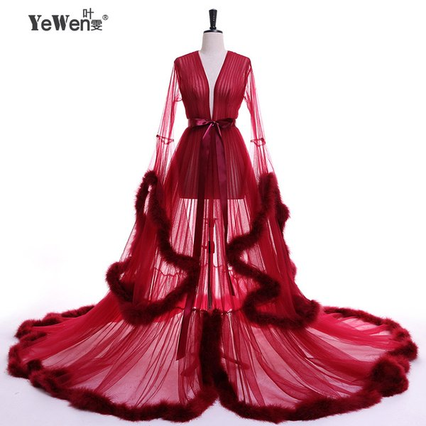 YeWen Vestido De Festa Feather Long Sleeve Tulle Party Evening Dresses 2019 Sexy Burgundy Formal Prom Dress Gown Women Plus
