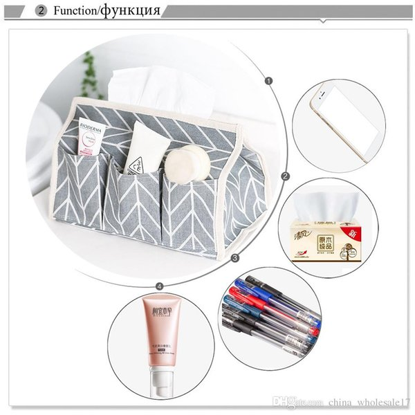 Free Shipping 6 Pockets Cotton Tissue Box Multifunctional Desktop Pumping Napkin Paper Holder Waterproof Paper Towle Case Storage Bag