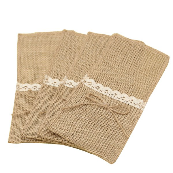 10 Pcs Christmas Lace Packaging Fork Jute Burlap Pocket Knife Holder Pouch Decoration Tableware Party Wedding Vintage
