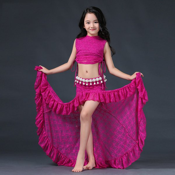 Bellydance Costume Girls Lace Sleeveless Tops Long Skirts Indian Clothes For Kids Belly Dancing Outfits Children Oriental DN2852