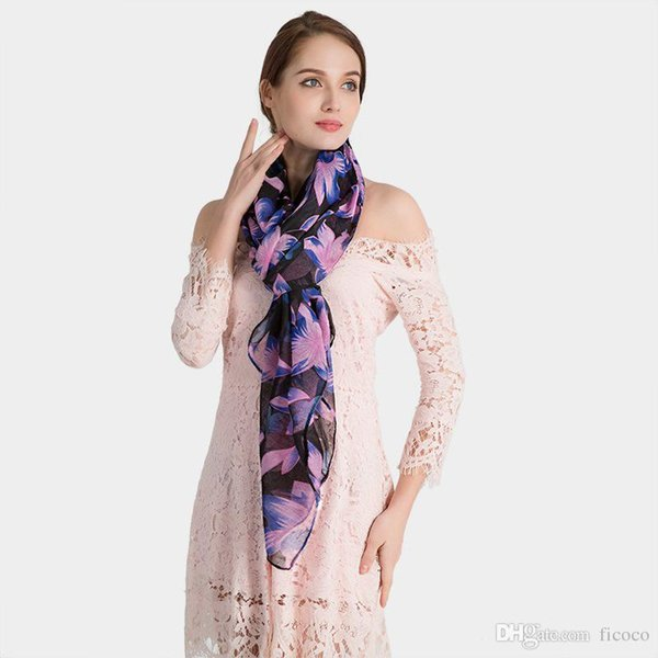 5 Colors Floral Linen Designer Scarf 180cm*90cm Women Hijab Shawls Pashmina Head Wrap Scarves Table Blanket Beach Towel