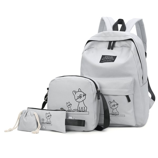 4pcs/set School Backpack Book Bags For Students Backpack Women Casual Rucksack Daypack Nylon Laptop Fashion Student Backpacks Y19061102