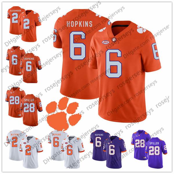 Clemson Tigers #6 DeAndre Hopkins 2 Mackensie Alexander Sammy Watkins 13 Adam Humphries 28 CJ Spiller Purple White Orange Retired Jersey