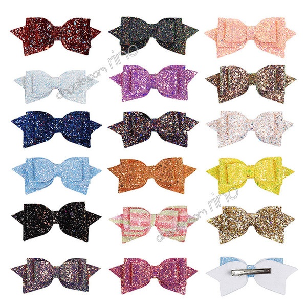 Infant Baby Girls Big Glitter Shiny Sequin Bow Headbands Girls Hair Clips Childrens Barrettes kids Hair Accessories Artificial Leather Headb