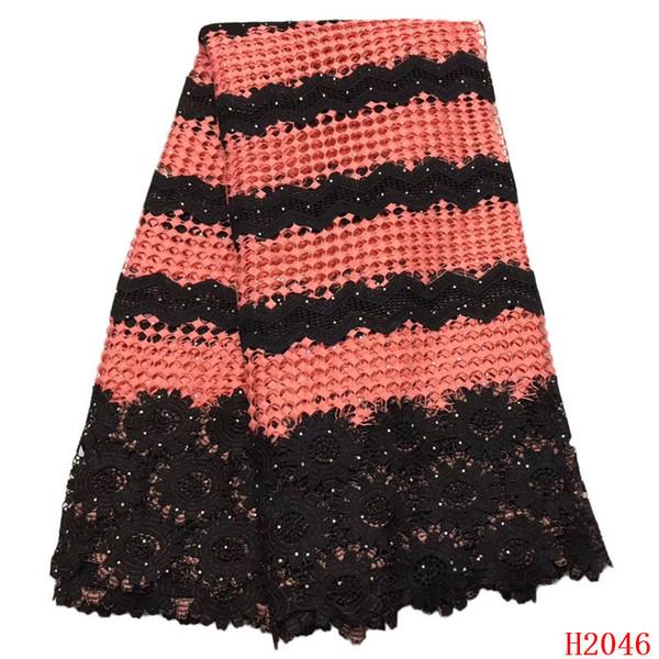 Afrikanisches Spitzegewebe 2019 Koralle / Schwarz Hohe Qualität Gestickte Hochzeitskleid Guipure-spitze Nigeria Schnur Spitze Stoff X2046