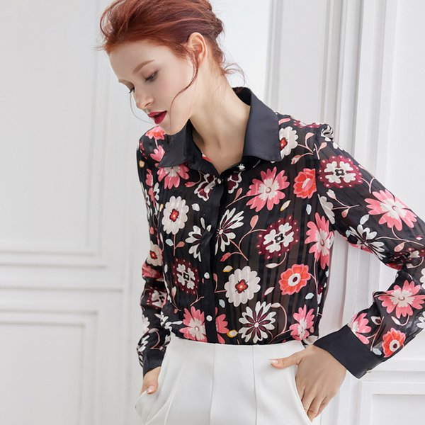 2019 spring new casual long-sleeved silk color high-end printing POLO lapel shirt women's clothing