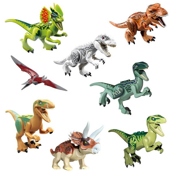 Dinosaur Model Toys 8pcs Jurassic World Park Movie Triceratops Tyrannosaurus Model Building Blocks Kids Toys Novelty Items WCW386