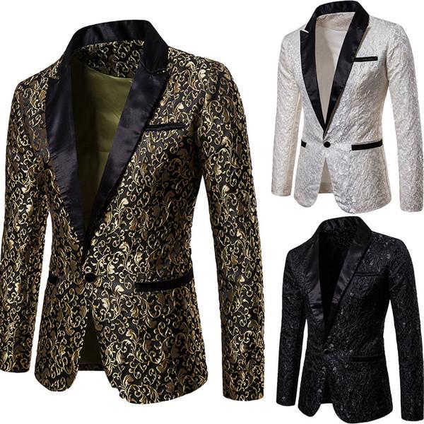 Men's Autumn And Winter Models Solid Color Body Jacquard Fashion Design Dress Men's Lapel Suit