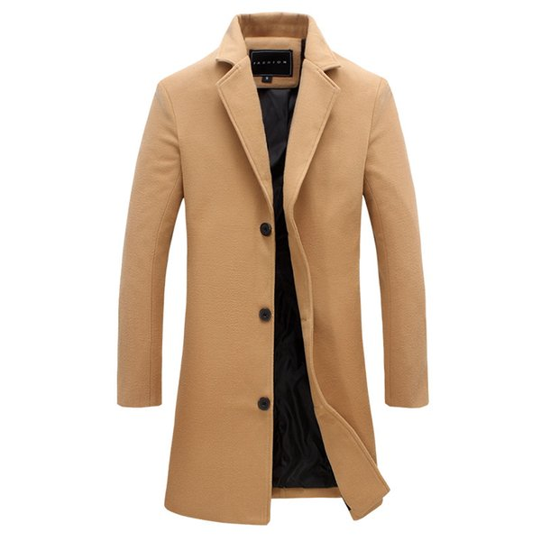 High Quality Men's Wool Trench Coat Plus Size Lapel Pure Color Long Coat Fashion Winter Trench Slim Fit Office Suit Jackets Male