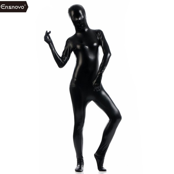 ostumes Accessories Ensnovo Catsuit Women Zentai Flesh Full Bodysuit Black Shiny Metallic Zentai Cosplay Costume Cheap Lycra Jumpsuit Un...