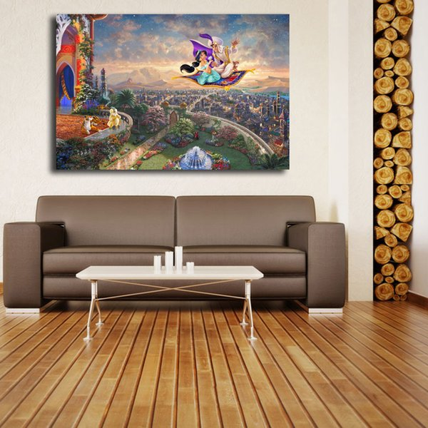 Thomas Kinkade Magician A Jasmine HD Canvas Prints Wall Art Painting Pictures For Living Room Modern Home Decor (Unframed/Framed)