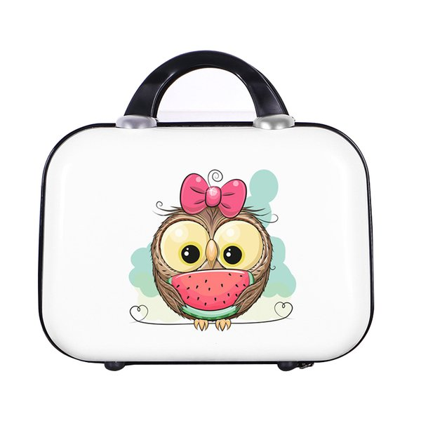 Cartoon Travel Luggage Suitcase Hard Bag Lady Clothes Beauty Toiletry Cosmetic Electronic Organizer Box Case Weekend Necessary