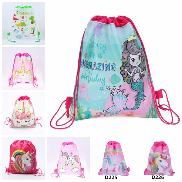 8styles Unicorn Mermaid Drawstring Bag Cartoon Backpack Sports Shoulder Bag Outdoor Storage Bag Travel Pocket school bags FFA1866